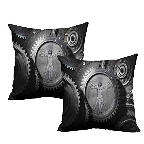 warmfamily Industrial Square Pillowcase Wheels of System with Medieval Old Human Body Animation Device Gears of Whole Theme Machine Washable W19 x L19 Grey ()