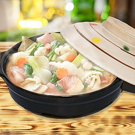 Japonés Hot Pot, cerámica gres maceta para una persona, Donabe, 6,7 pulgadas: Amazon.es: Hogar