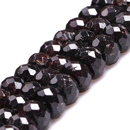 JOE FOREMAN 8x12mm Garnet Semi Precious Stone B Grade Faceted Rondelle Loose Beads for Jewelry Making DIY Handmade Craft Supplies 15