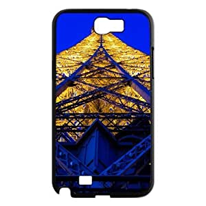 Yearinspace eiffel tower blue and yellow Samsung Galaxy Note 2 Cases, Cheap Cute Case For Samsung Galaxy Note2 {Black}
