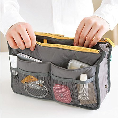 Portable Multi-function Handbag Pouch Bag in Bag Organiser Insert Organizer Tidy Travel Cosmetic Pocket (Gray) ()