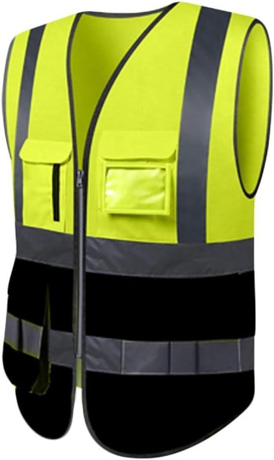 Chaleco de seguridad para hombres, chaleco de alta visibilidad Poliéster Cómodo y transpirable Montar a caballo duradero por la noche Chaleco de seguridad reflectante 2 piezas (amarillo + negro, XL)