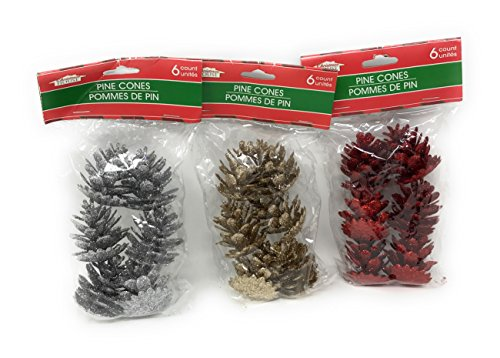 Glitter Pine Cone Decorations: Red,Gold and Silver, Pack of 3