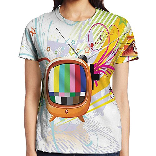 - WuLion Digital Image Television Media Stars Stripes Lines Abstract Artwork Women's 3D Print T Shirt XL White