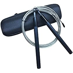 Speed Jump Rope, with NMB 360°Swivel Ball Bearing Design, Adjustable 8Ft Durable Cable, Workout for Exercise, WOD, Outdoor, MMA, Boxing & Speed Skip Training, W/ Portal Oxford Box (Black)