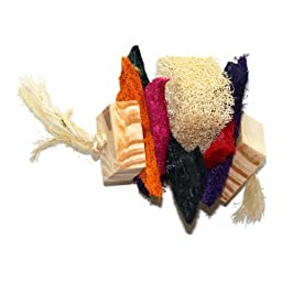 EcoLoofah Model No.7 Parrots and Chinchillas Rope Toy, Colored