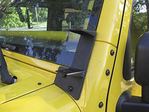 A-pillar Light Bracket, Partol Dual A-Pillar Windshield Hinge Mounting Brackets for Off-Road HID Halogen Fog Work Lights fits 2007-2017 Jeep Wrangler JK 2DR 4DR - Pair, Black 4dr Laser