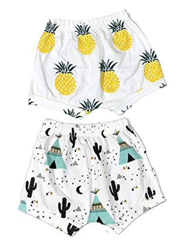 BIGBUY 2pcs Summer Baby Fruit Printed Cotton Shorts Harem Pants for 0-4 Years Old (2T, Pineapple+Cactus) -