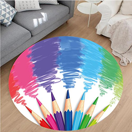 Crayons Rug - Nalahome Modern Flannel Microfiber Non-Slip Machine Washable Round Area Rug-Welcome Back to School Phrase with Colorful Crayons and Pencils Student Design Multicolor area rugs Home Decor-Round 28