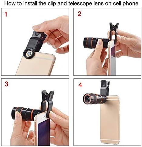 Black NHUAIYINSHUGUOGUANGGAOJINGY Mobile Phone Camera Lens 12X Zoom Telephoto Lens External Telescope With Universal Clip for Smartphone