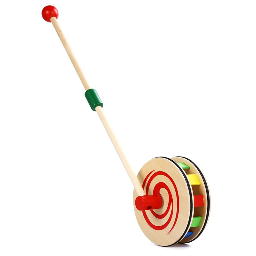 Ireav Baby Walking Toys Push Pull Rainbow Wheel Kids Infant Early Development Wooden Single Rod Hand Pushed Toy Gift by Ireav (Image #2)