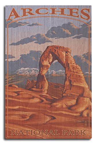 Lantern Press Arches National Park, Utah - Delicate Arch (10x15 Wood Wall Sign, Wall Decor Ready to Hang)