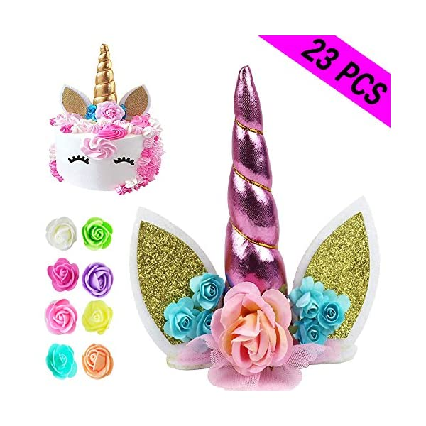 Unicorn Cake Topper, Reusable Unicorn Horn & Ears & Eyelashes and Flowers, Party Cake Decoration for Baby Shower, Wedding, Birthday Party 3