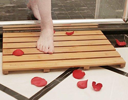 Ecobambu Bamboo Shower Mat Square Bath &Floor Mats Non-slidi
