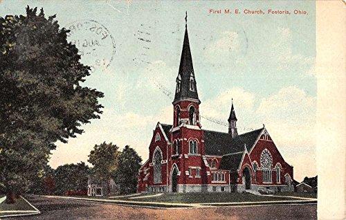 Fostoria Ohio First M E Church Street View Antique Postcard K14769
