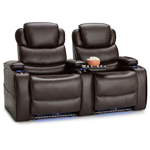 Barcalounger Columbia Leather Gel Home Theater Seating Chairs Power Recline - (Row of 2, Brown) by BarcaLounger