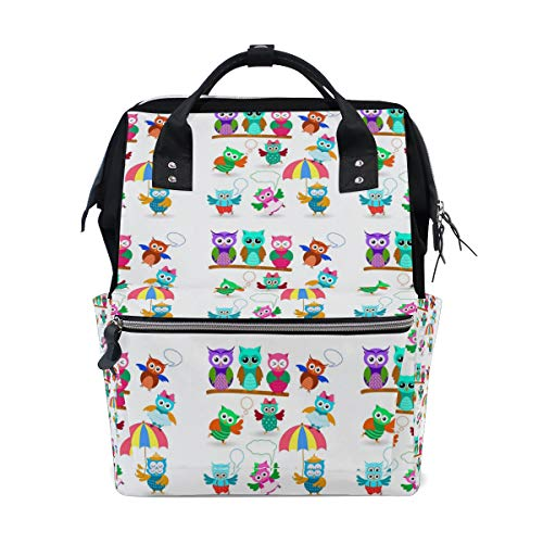 Owls Set In Different Poses Backpack Big Capacity Daypack Casual School Travel Daypack