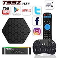 BPSMedia T95Z Plus 4K Amlogic S912 Set Top TV Box Android 6.0 Lollipop OS KODI XBMC Octa Core Google Streaming Media Player 2GB/16GB Emmc with WiFi HDMI DLNA + I8 Mini Wireless Keyboard