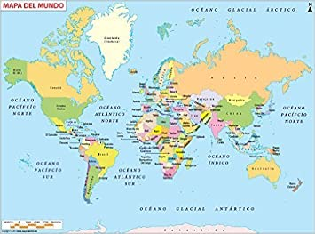 Amazon スペイン語世界マップ ラミネート 36 W X 1049