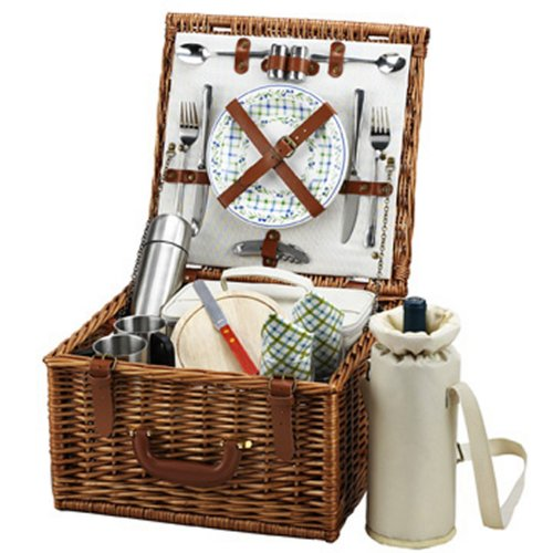 Picnic at Ascot Cheshire English-Style Willow Picnic Basket with Service for 2 and Coffee Set - Gazebo by Picnic at Ascot