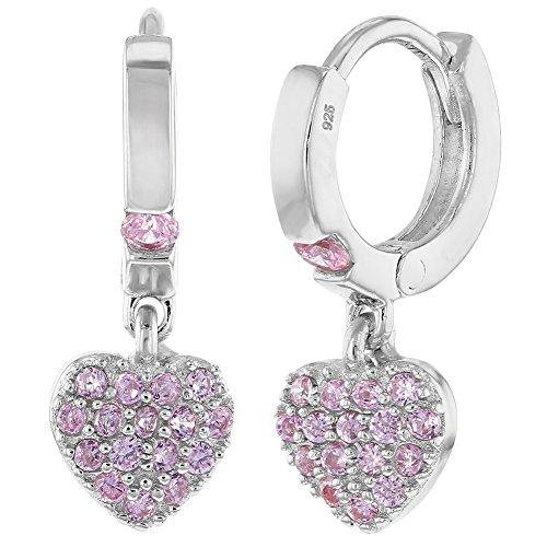 925 Sterling Silver CZ Small Hoop Dangle Heart Baby Girl Kids Earrings (Pink Hoop Heart)