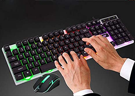 Ect Win 7 Win8 Lyperkin Wired Keyboard S15 Backlit Pro Gaming USB Keyboard Colorful LED Illuminated Wired PC Rainbow Gaming Keyboard Mouse Set Compatible with 2000 Vista Mac OS XP//Vista