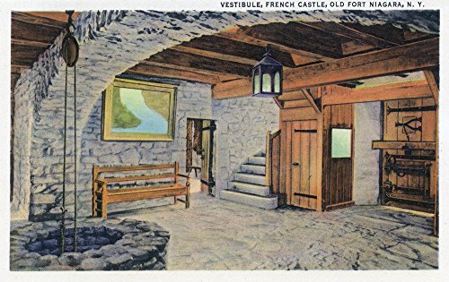 (Old Fort Niagara, New York - Interior View of Vestibule in Old French Castle (12x18 Art Print, Wall Decor Travel Poster))