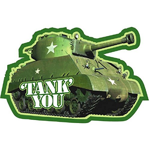 Adventurous Camouflage Tank Thank You Notes Birthday Party Cards Supplies,10