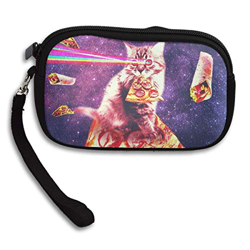 Space Cat Eating Pizza Rainbow Laser Eyes Coin Pouch Clutch Purse Wristlet Wallet Phone Card Holder Handbag