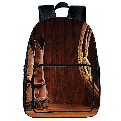 - Light Weight Loss Square Front Bag Backpack,Western Decor,American Style Cowboy Wild West Culture Equestrian Sports Team Roping Barn,Umber Brown,for Children,Print Design.15.7