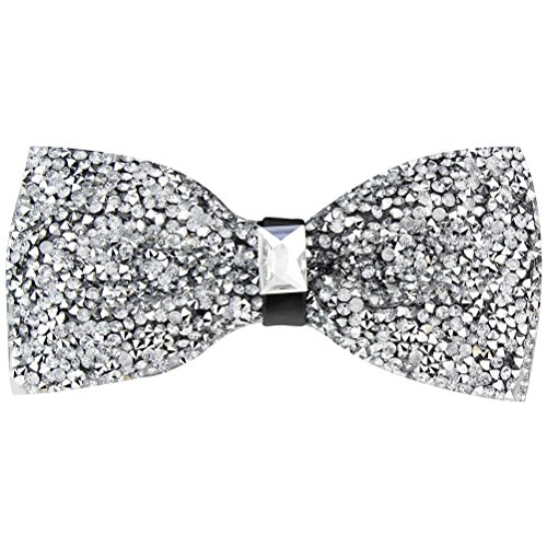 New Fashion Men Rhinestone Bow Tie Party Banquet Bowtie Wedding Accessories (Silver B)