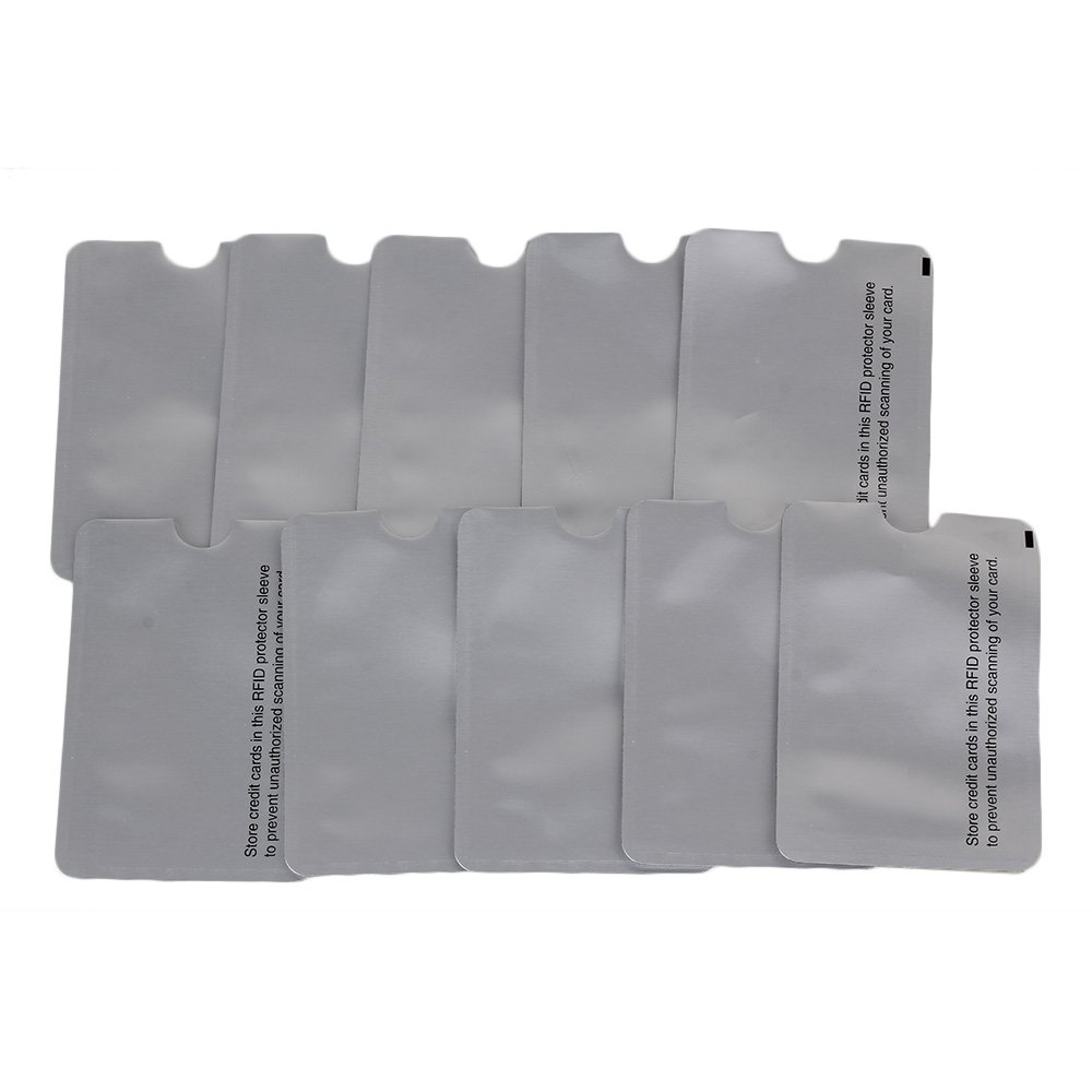 Yibuy 10pcs 9.2x6.3cm Foil RFID Blocking Sleeves & Passport Protectors Holders Silver etfshop YBY20180890