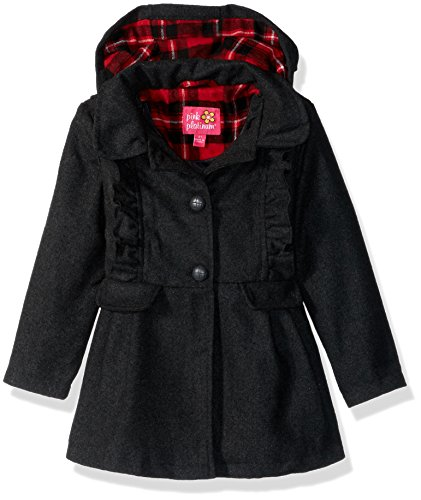 Pink Platinum Little Girls' Ruffles Wool Jacket, Charcoal, 4