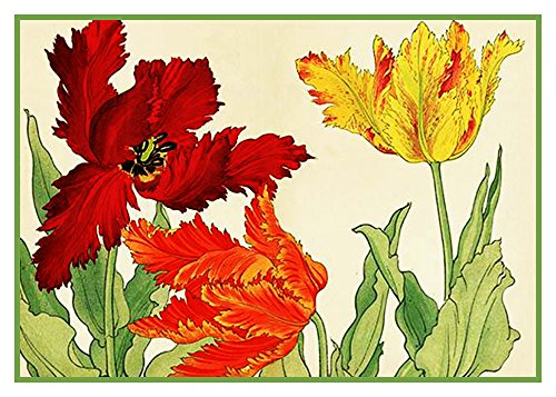 - Orenco Originals Tanigami Konan Asian Parrot Tulip Flowers Counted Cross Stitch Pattern