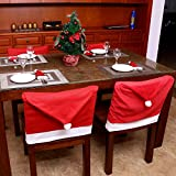 Unomor Santa Hat Christmas Chair Back Covers, Santa Clause Red Hat Dining Chair Slipcovers for Xmas Holiday Party Festive Decoration, Set of 4