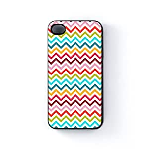 Colourful Chevron ZigZag Pattern Rainbow Colors Black Hard Plastic Case Snap-On Protective Back Cover for Apple® iPhone 4 / 4s by UltraCases + FREE Crystal Clear Screen Protector