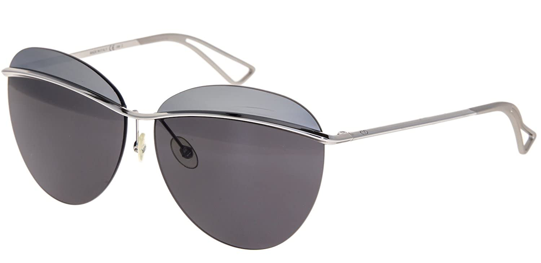 0590576e3b CHRISTIAN DIOR METALLIC 2 Palladium Silver Mirrored Metal Oval Sunglasses  at Amazon Women s Clothing store