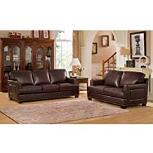 AMAX LEATHER Winchester Top Grain Leather Sofa and Loveseat