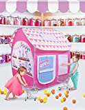 SUGAR Q Breathable Extra Large Portable Folding Pop-Up Candy Shop Pretend Play Tent Playhouse Play Hut Ball Pit Pool Toy,Kids Girl/Boy Birthday Gift Party Indoor/Outdoor Non-Toxic/Odor-Free