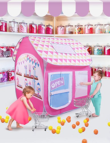 SUGAR Q Breathable Extra Large Portable Folding Pop-Up Candy Shop Pretend Play Tent Playhouse Play Hut Ball Pit Pool Toy,Kids Girl/Boy Birthday Gift Party Indoor/Outdoor Non-Toxic/Odor-Free by SUGAR Q