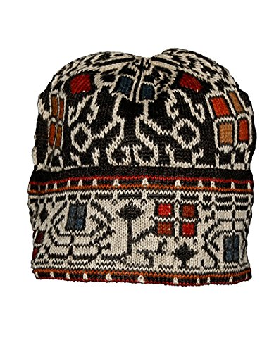 [100% Alpaca Hand Knit Winter Beanie Hat - Congo Pattern - Medium] (Alaska Womens Pink T-shirt)