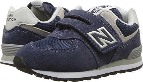 - New Balance Boys' 574v1 Essentials Hook and Loop Sneaker,  Navy/Grey, 8.5 M US Toddler