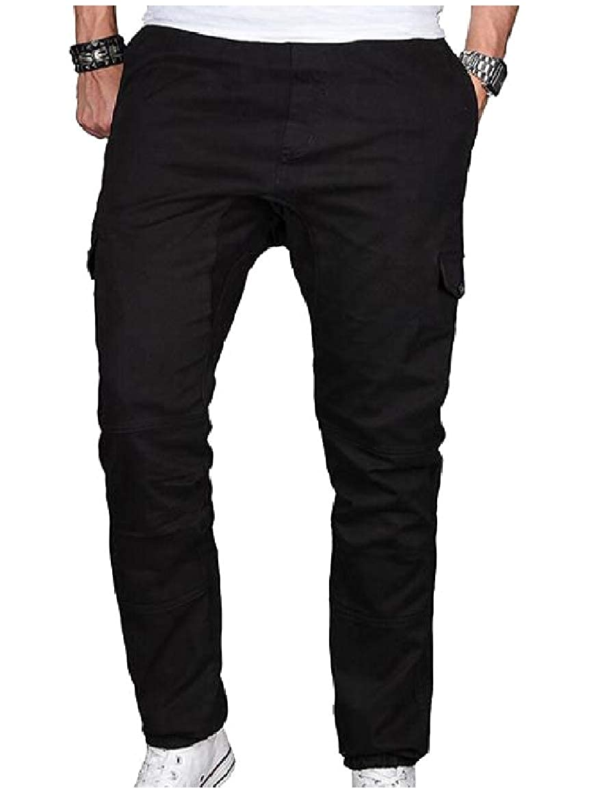 Abetteric Men Outfoor Pure Loose Relaxed-Fit Comfy Pockets Casual Trousers