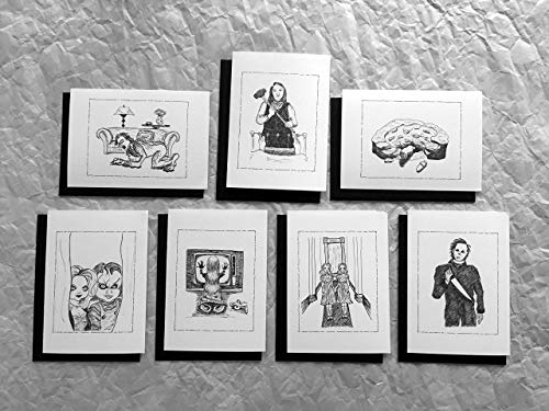 Horror Movie Classics Greeting Cards (Pack II) 7 Cards & Black Envelopes, PLUS a FREE Silver Pen!]()