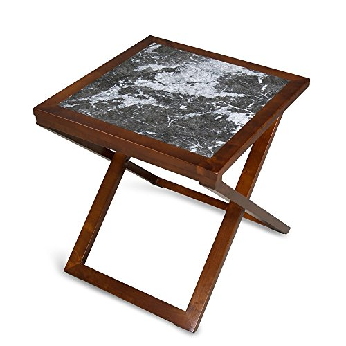 Olee Sleep Grigo Garinico Natural Marble Top Soild Wood Base X-Coffee Table/ Tea Table / End Table/ Side Table/ Office Table/ Computer Table / Vanity Table/ Dining Table/ Black & Brown For Sale