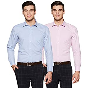 Amazon Brand – Symbol Men's Solid Regular Fit Full Sleeve Formal Shirt (Combo Pack of 2)