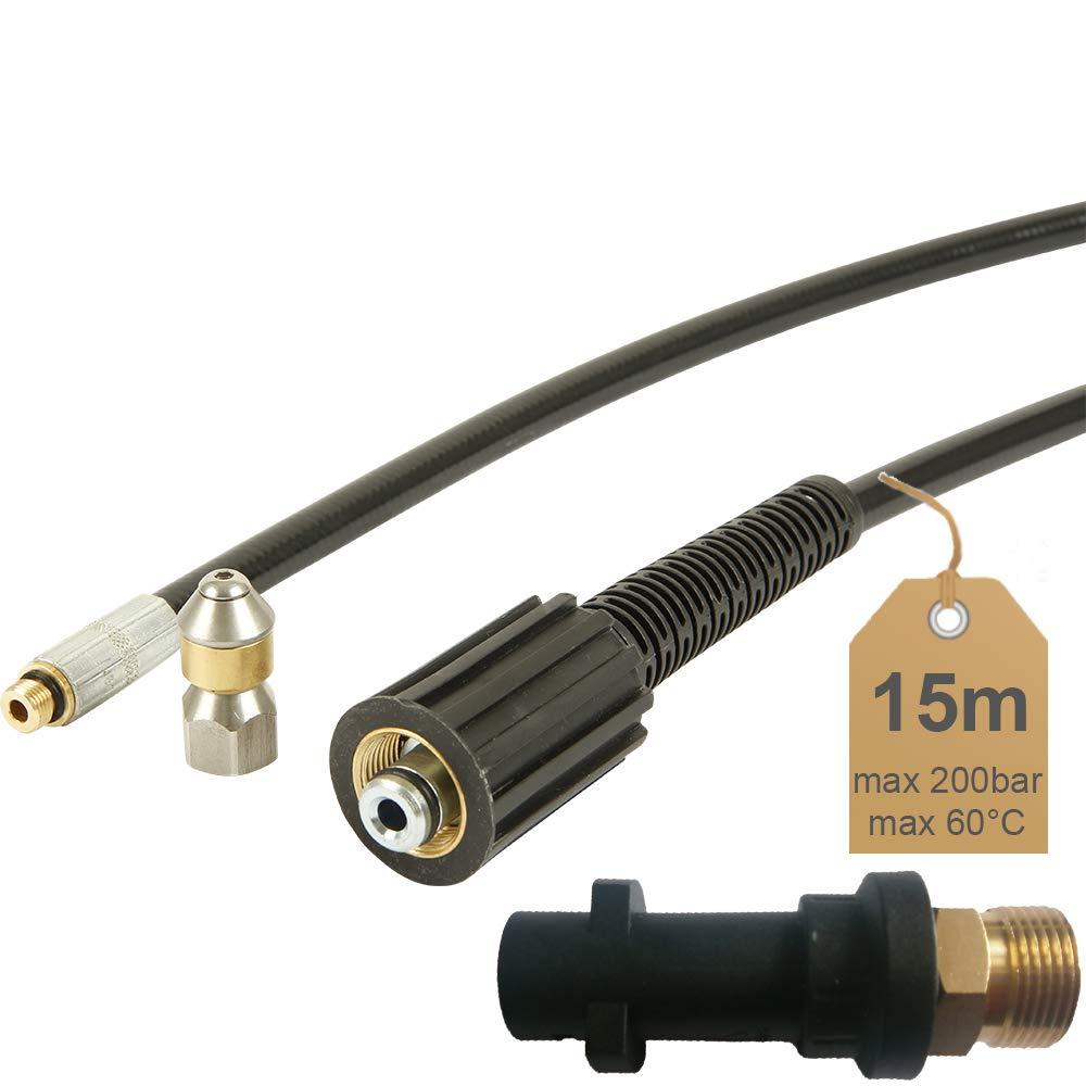 inkl 200bar 60/°C 15m Rohrreinigungsschlauch geeignet f/ür Hochdruckreiniger K/ärcher | von McFilter inkl D/üse rotierend Adapter