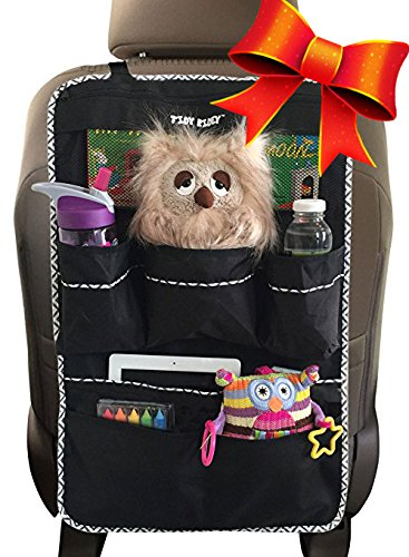Backseat Organizer, Car Organizer for Kids- Large Size, #1 Kids Toy Storage- Travel Accessories, Car Seat Protector-Kick Mat, Durable Material (Large)