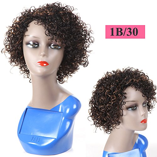Ombre Short Curly Human Hair Wigs For Black Women, UDU 1b/30 None Lace Front Wig Kinkys Curly Human Hair Wig For African American Women
