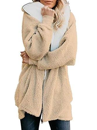 Ibeliver Women Long Sleeve Zip Oversized Open Front Hooded Pockets Fuzzy  Fleece Cardigan Coat S-XXXL at Amazon Women s Coats Shop 19af02259